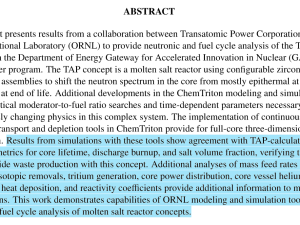 Full-core 3D modeling from ORNL